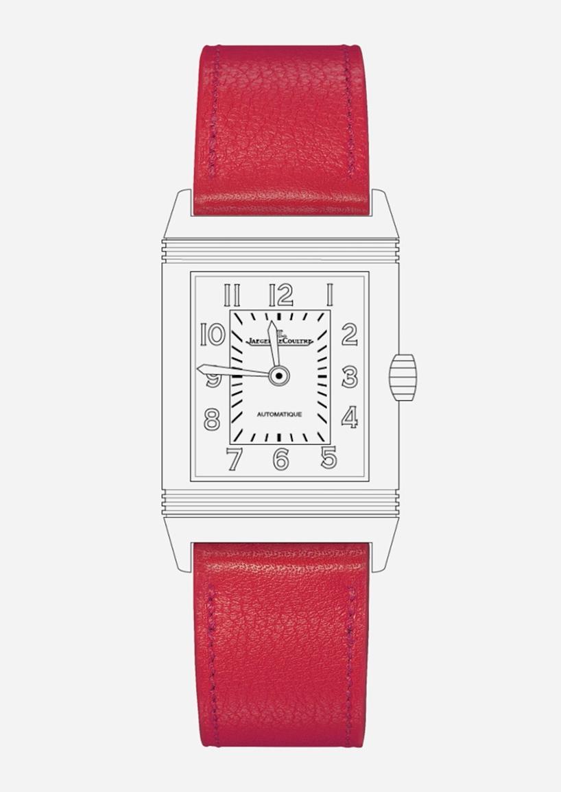 montre reverso bracelet rouge jaeger lecoultre